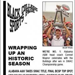 Black College Sports Page: Vol 27, No 40: Wrapping Up An Historic Season